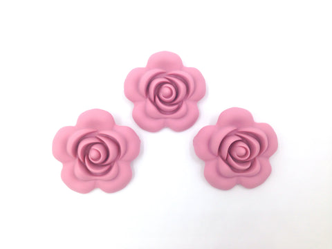 40mm Dusty Rose Silicone Flower Bead