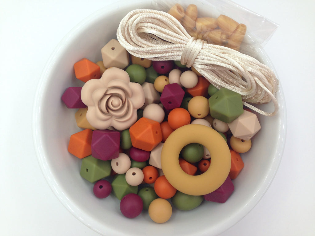 Pumpkin, Oatmeal, Army Green, Mustard and Wine Bulk Silicone Bead Mix