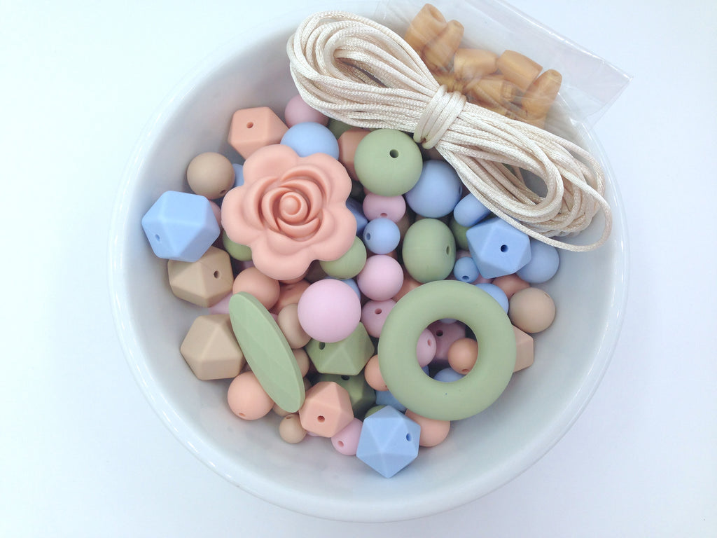 Powder Pink, Peach, Baby Blue, Oatmeal and Sage Bulk Silicone Bead Mix