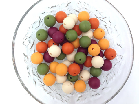Beige, Green, Wine, Pumpkin & Mango Mix, 50 or 100 BULK Round Silicone Beads