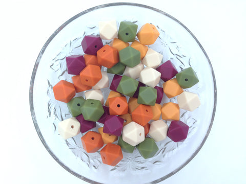 Beige, Green, Wine, Pumpkin & Mango Mix, 50 or 100 BULK Hexagon Silicone Beads