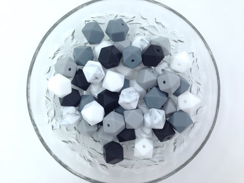 Black, White and Gray Mix, 50 or 100 BULK Hexagon Silicone Beads
