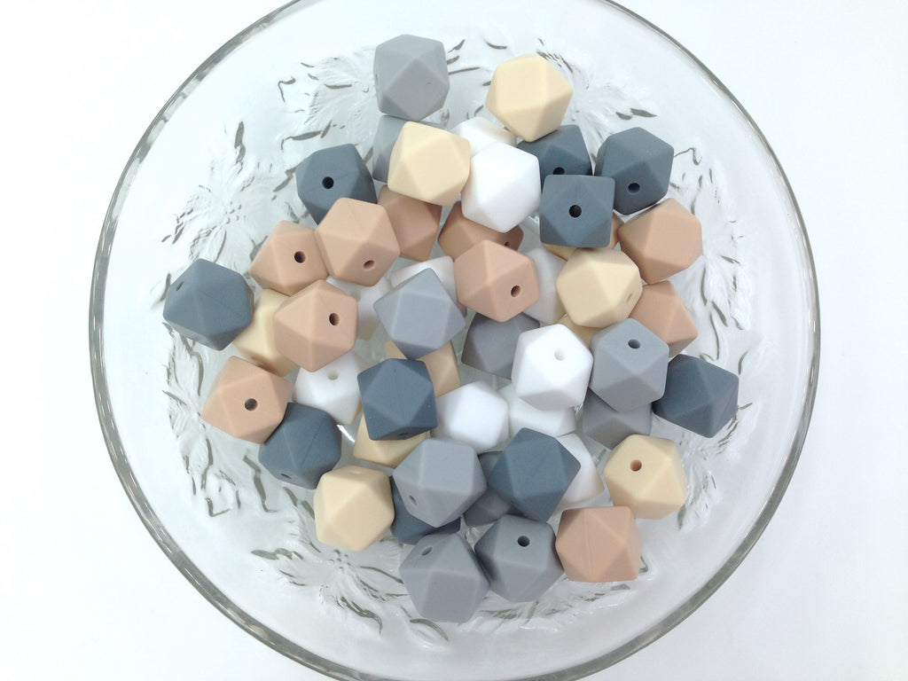White, Beige, Oatmeal and Gray Mix, 50 or 100 BULK Hexagon Silicone Beads