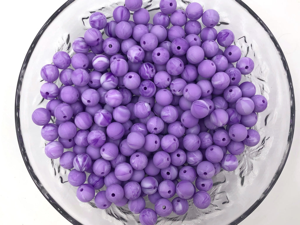 9mm Purple Marble Silicone Teething Beads