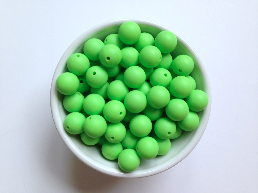 15mm Key Lime Green Silicone Beads
