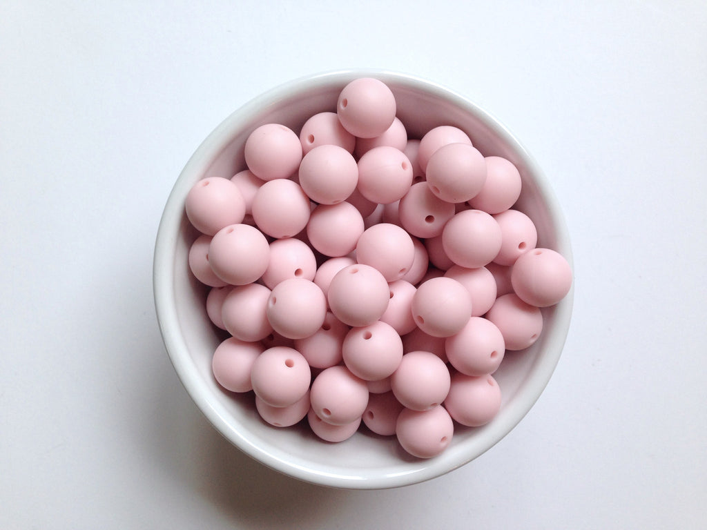 15mm Powder Pink Silicone Beads
