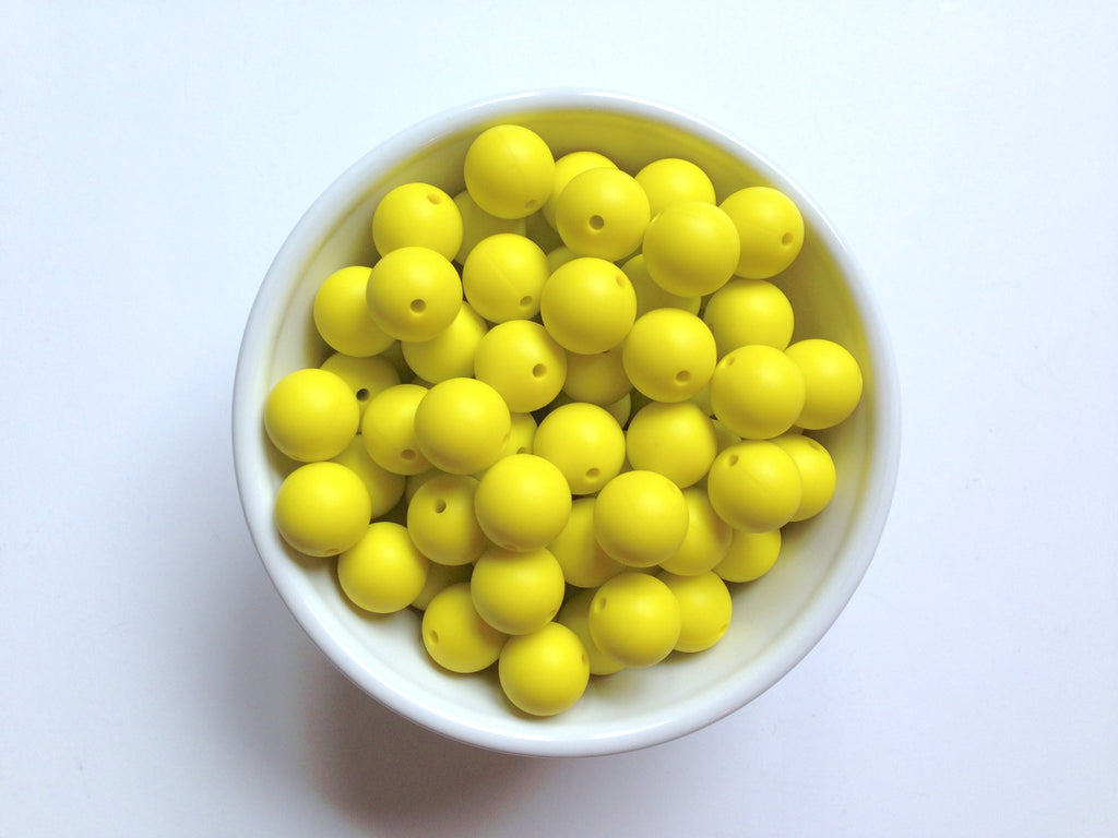 15mm Lemon Yellow Silicone Beads