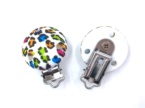 Colorful Leopard Round Silicone Pacifier Clip