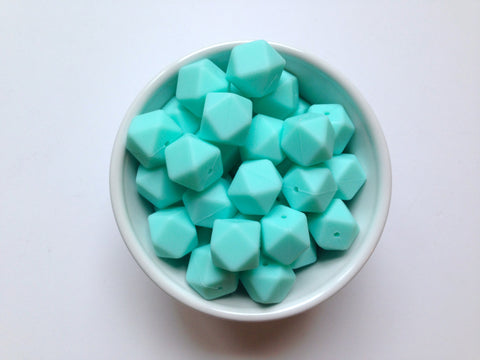Aqua Hexagon Silicone Beads