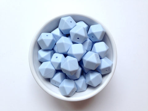 Baby Blue Hexagon Silicone Teething Beads