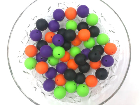 Orange, Green, Purple and Black Halloween Mix, 50 or 100 BULK Round Silicone Beads