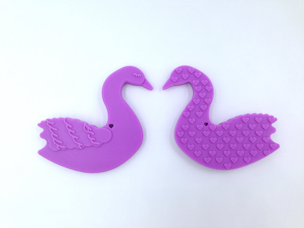Lavender Purple Swan Silicone Teether