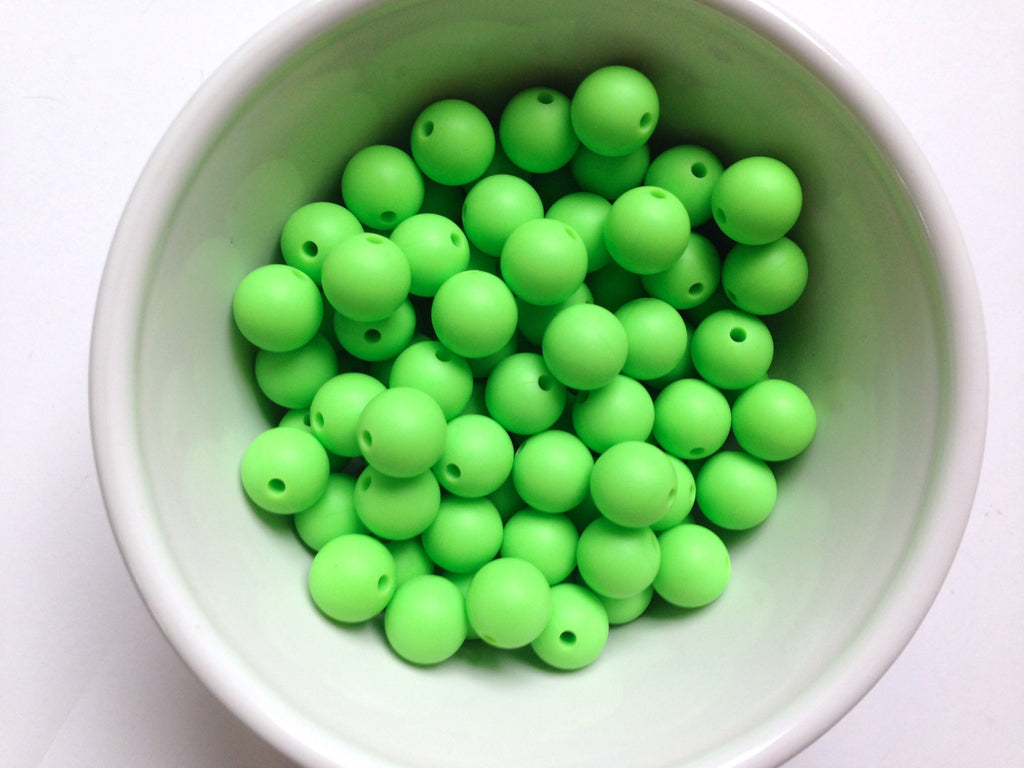 12mm Key Lime Green Silicone Beads