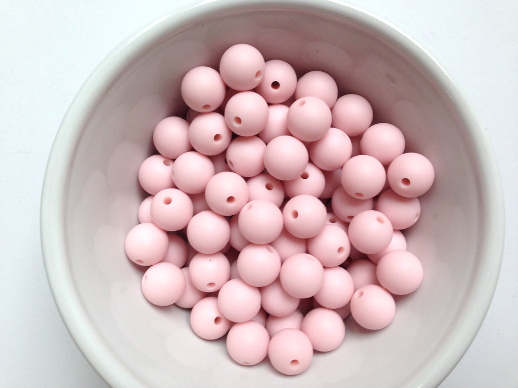 12mm Powder Pink Silicone Beads