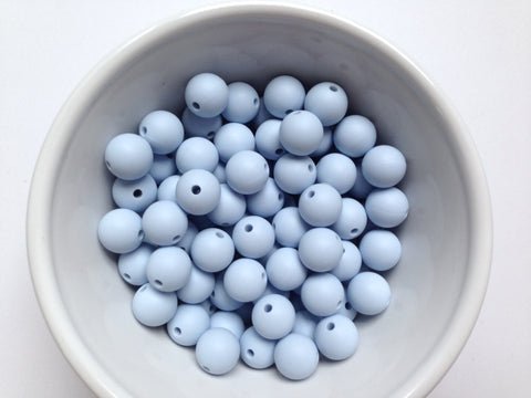 12mm Baby Blue Silicone Beads