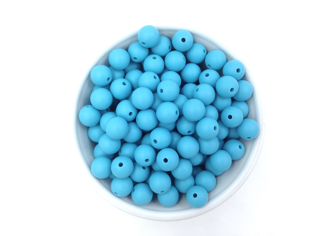 12mm Island Blue Silicone Beads