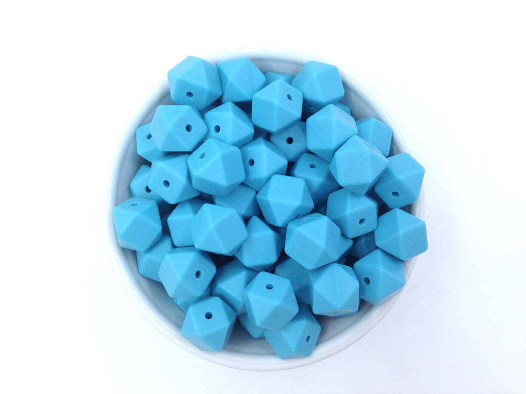 14mm Island Blue Mini Hexagon Silicone Beads