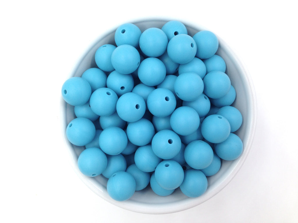 15mm Island Blue Silicone Beads