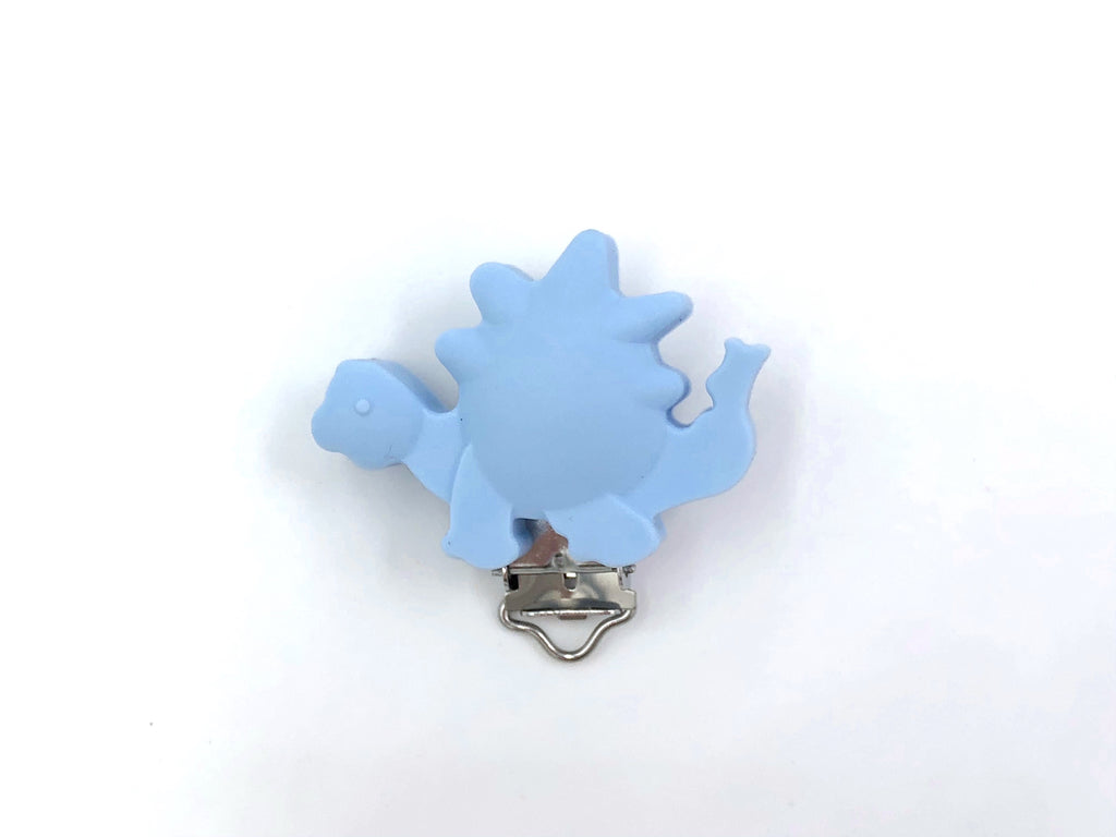 Baby Blue Dinosaur Silicone Pacifier Clip