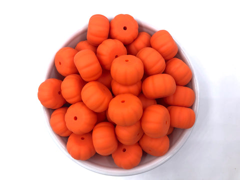 20mm Orange Pumpkin Abacus Silicone Beads