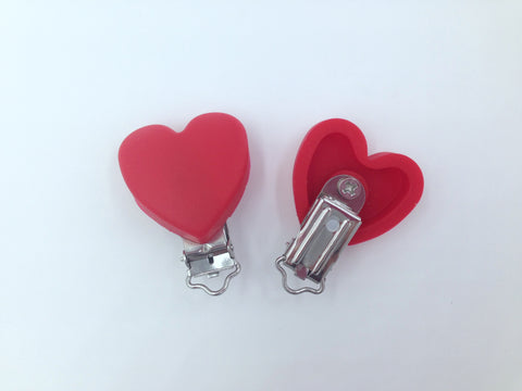 Red Heart Silicone Pacifier Clip