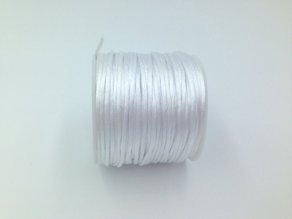 50 Yards White 1.5mm Satin Nylon Cord--BULK Roll