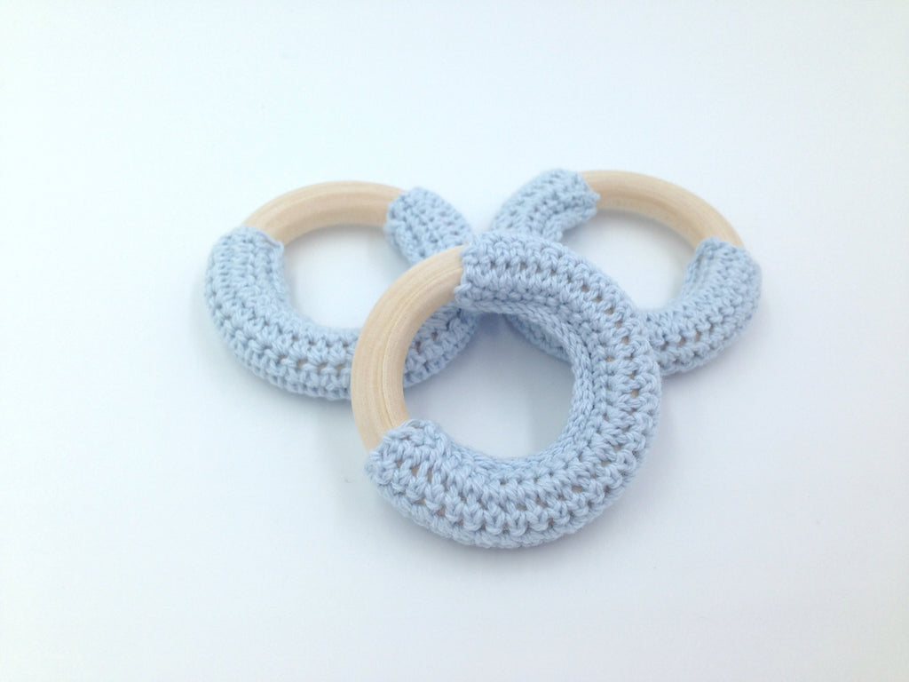 50mm Powder Blue Crochet Natural Wood Ring