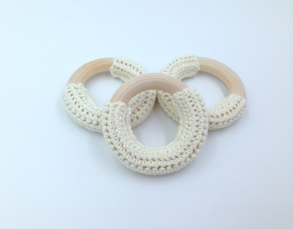 50mm Beige Crochet Natural Wood Ring