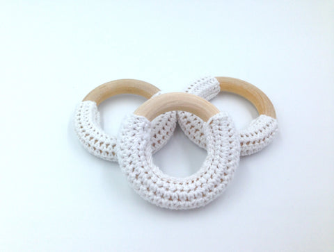 50mm White Crochet Natural Wood Ring