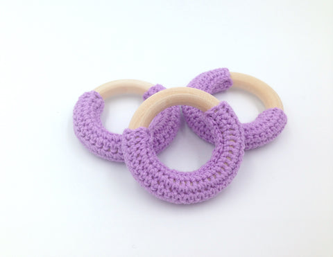 50mm Lavender Crochet Natural Wood Ring