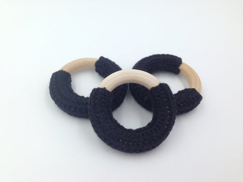 50mm Black Crochet Natural Wood Ring