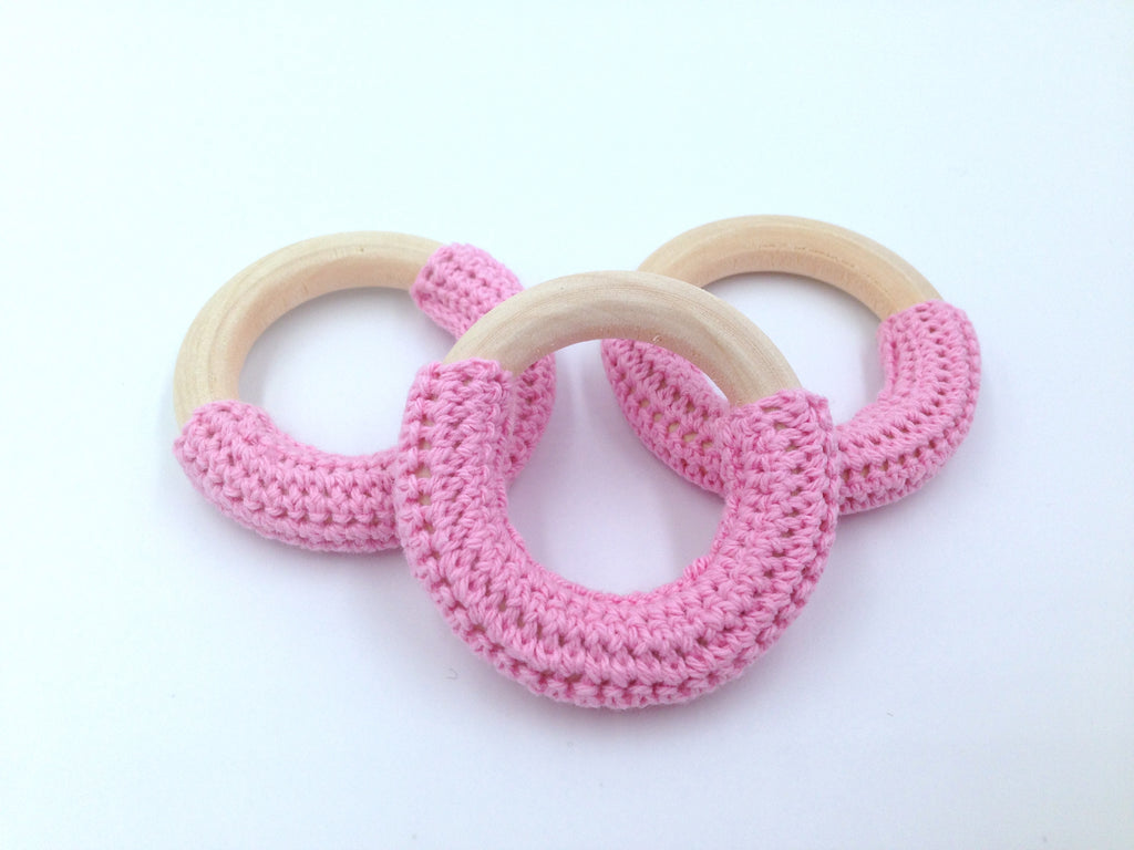 50mm Pink Crochet Natural Wood Ring