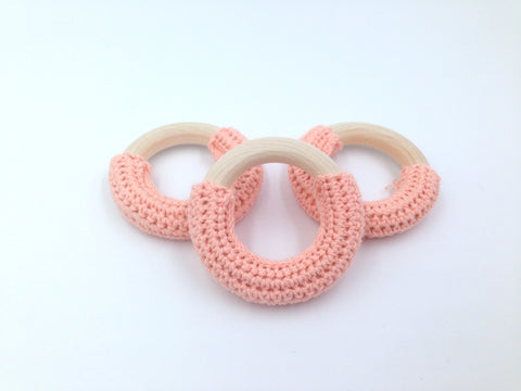 50mm Peach Crochet Natural Wood Ring