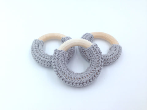 50mm Gray Crochet Natural Wood Ring