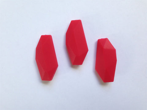 Red Salix Leaf Silicone Beads