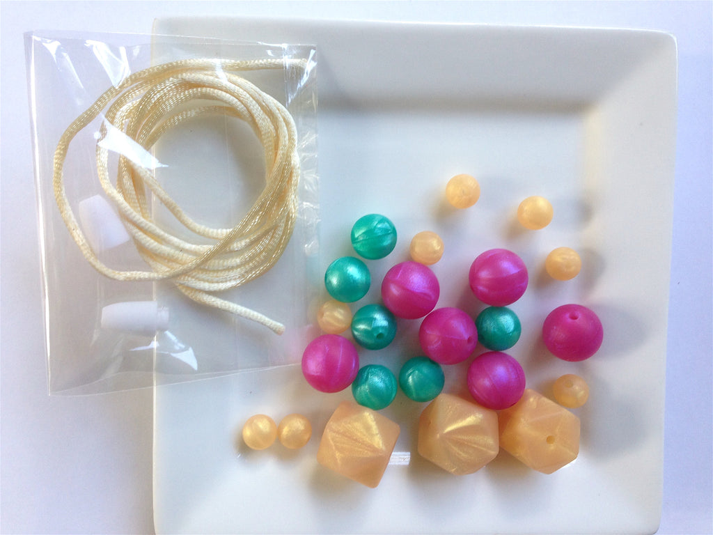 Pearl Hot Pink, Turquoise and Gold Silicone Teething Necklace Kit