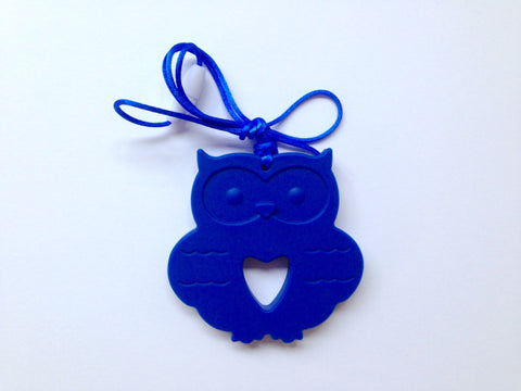 Royal Blue Silicone Owl Teether