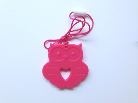 Light Hot Pink Silicone Owl Teether