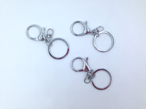 30mm Silver Key Ring and Clip