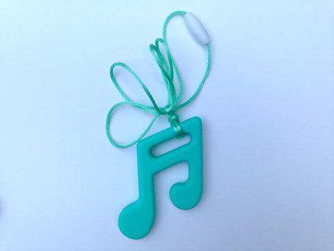 Light Turquoise Silicone Music Note Teether