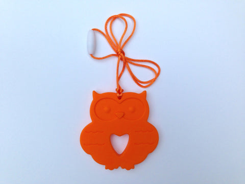 Orange Silicone Owl Teether