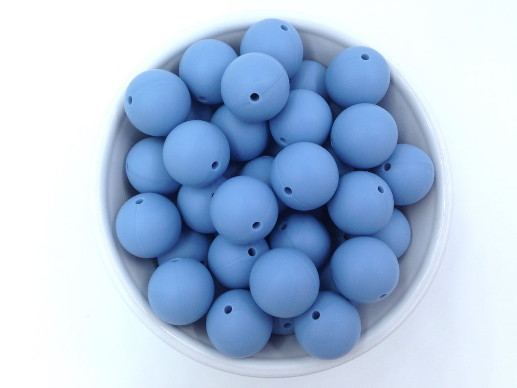 19mm Powder Blue Silicone Beads