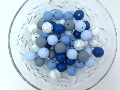 Shades of Blue, Marble & Gray 50 or 100 BULK Round Silicone Beads