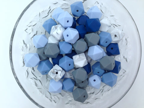 Shades of Blue, Marble & Gray 50 or 100 BULK Hexagon Silicone Beads
