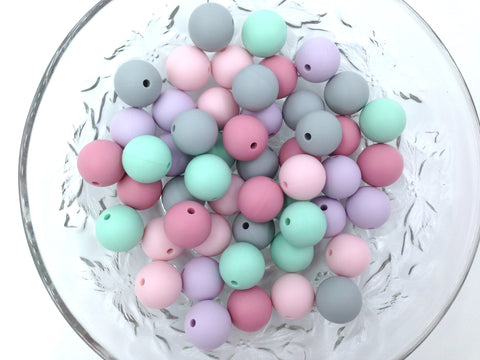 Pink, Lavender Mint & Gray 50 or 100 BULK Round Silicone Beads