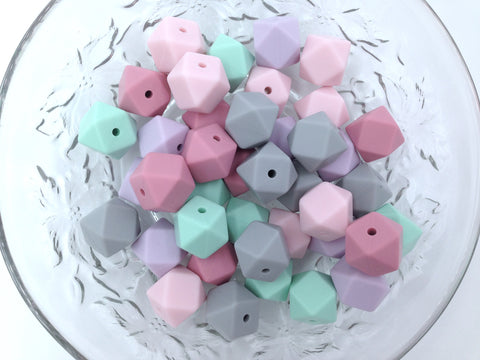 Pink, Lavender, Mint and Light Gray 50 or 100 BULK Hexagon Silicone Beads
