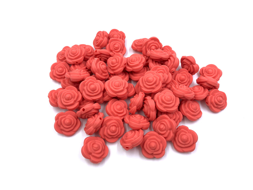 Coral Mini Silicone Rose Flower Beads