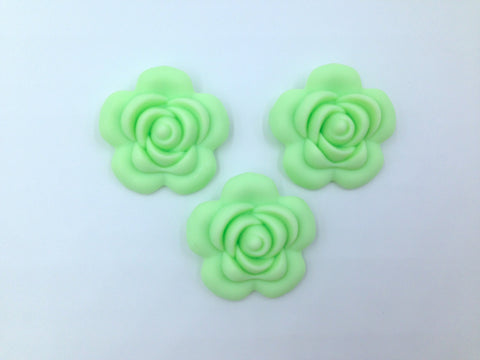 40mm Honeydew Silicone Flower Bead