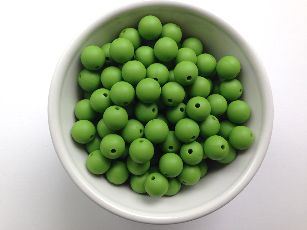12mm Olive Green Silicone Beads