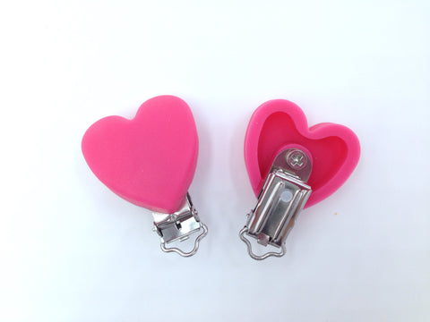 Light Hot Pink Heart Silicone Pacifier Clip